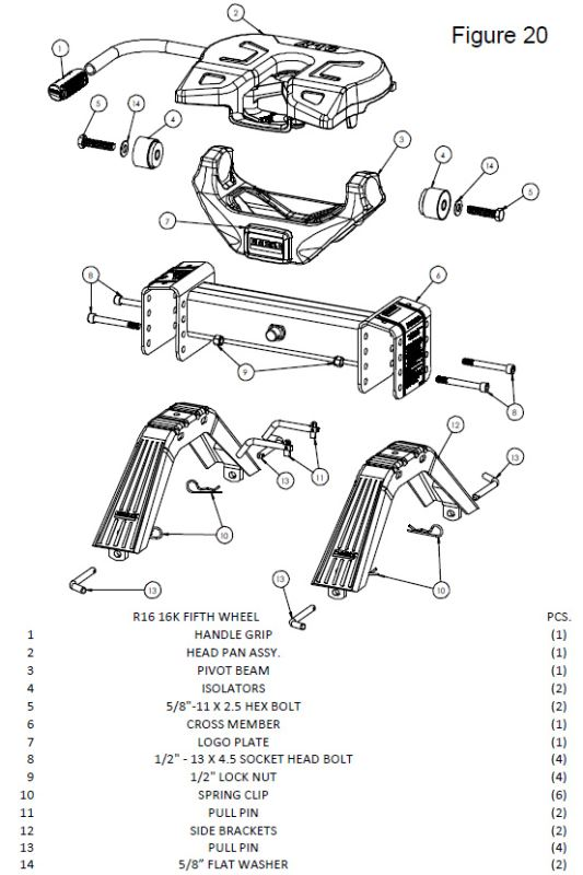 assembly diagram for the reese titan 20k fifth wheel hitch part   rp30869