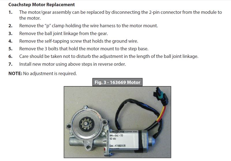 How To Remove Old Motor And Install New Coach Step Motor