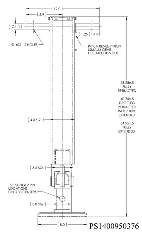 Dimensions For Attachment Of The Pro Series Square Drop