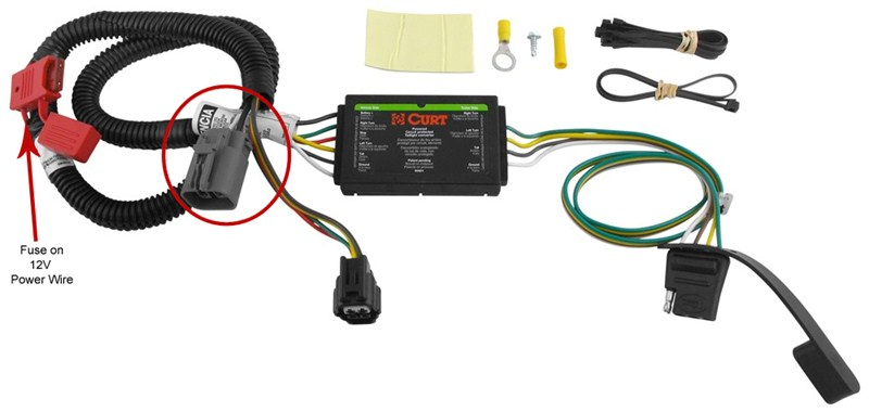 power wire location on curt trailer wiring harness c56151 on a 2012 kia sorento etrailer