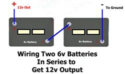 how to wire two 6-volt batteries in series to double output voltage