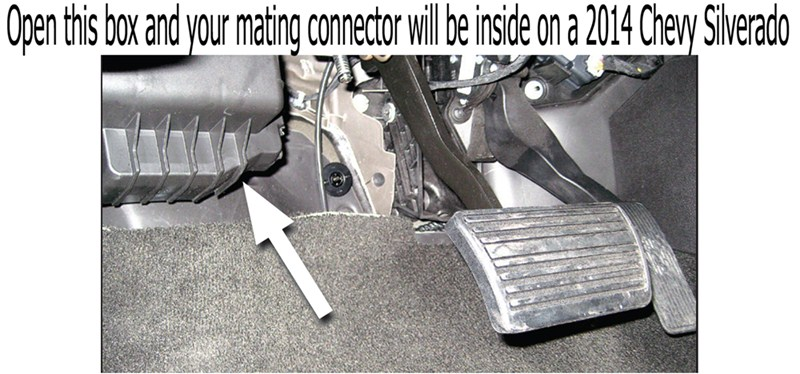 where is mating connector located for wiring harness 3016 on a pre wired 2014 chevy silverado