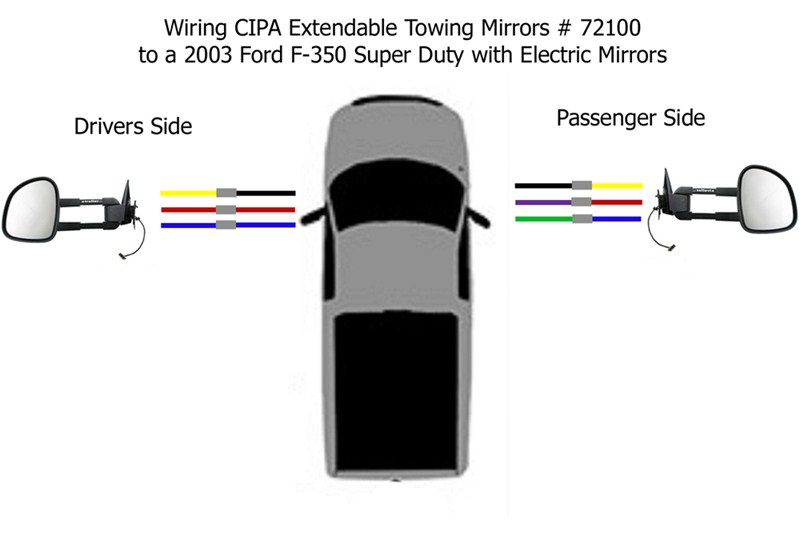 Wiring Diagram For The Cipa Extendable Towing Mirrors   72100 For A 2003 Ford F