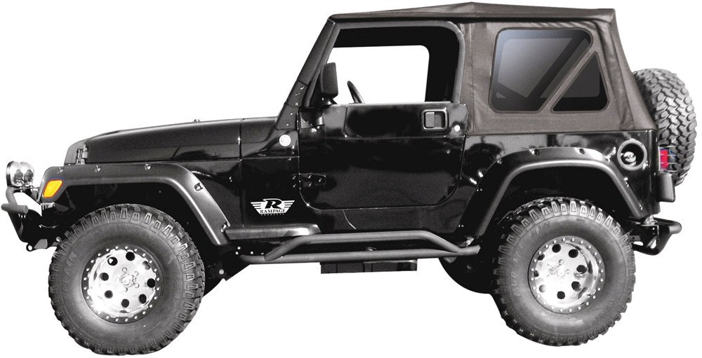 rampage replacement soft top fabric for jeep w full steel doors tinted windows black. Black Bedroom Furniture Sets. Home Design Ideas