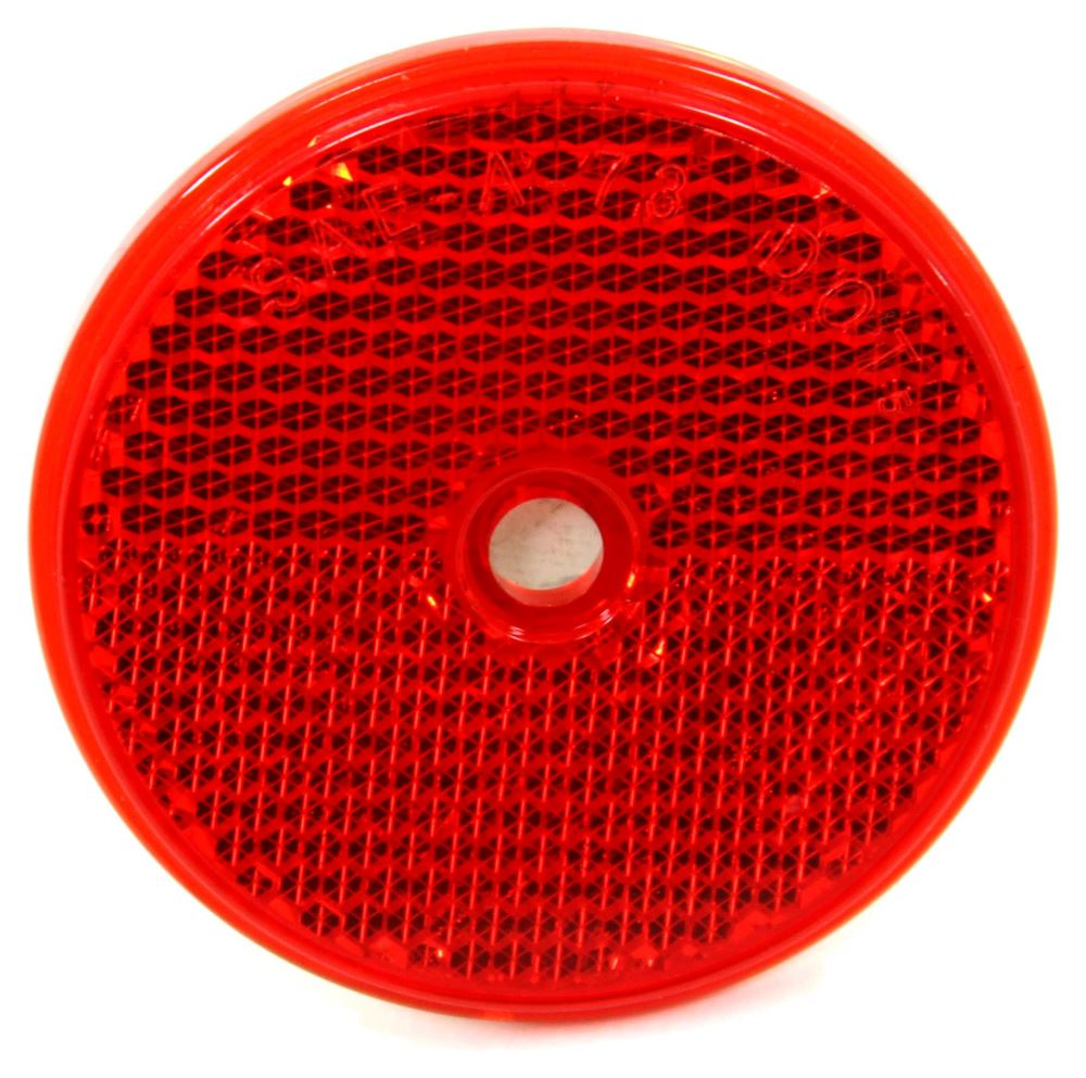"Trailer Reflector, Round 2-3/16"" Diameter, Screw Mount - Red 2 Inch Diameter RE35RB"