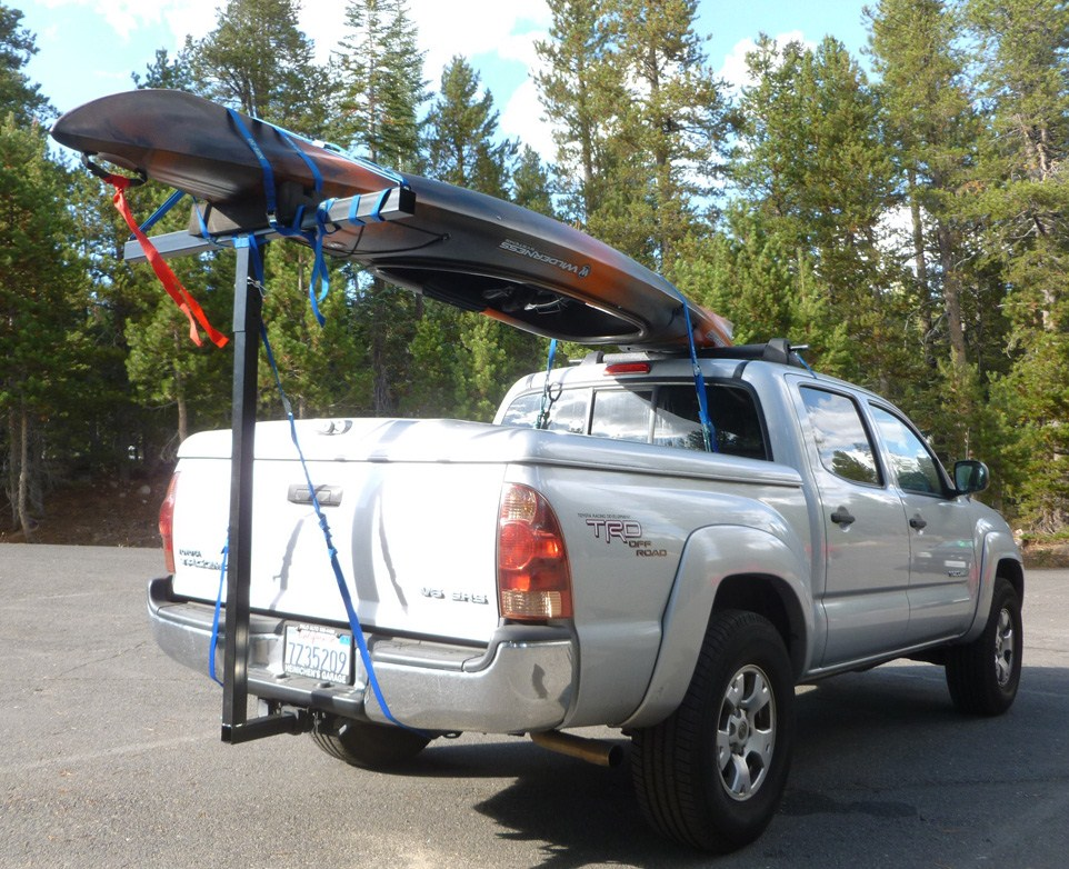 Kayak Racks For Pickup Trucks >> Darby Extend-A-Truck Kayak Carrier w/ Hitch Mounted Load Extender and Single-Bar Roof Rack Darby ...