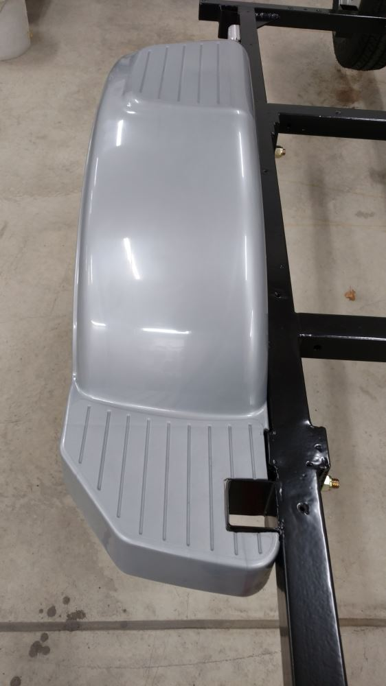 Fulton Single Axle Trailer Fender with Top and Side Steps - Silver
