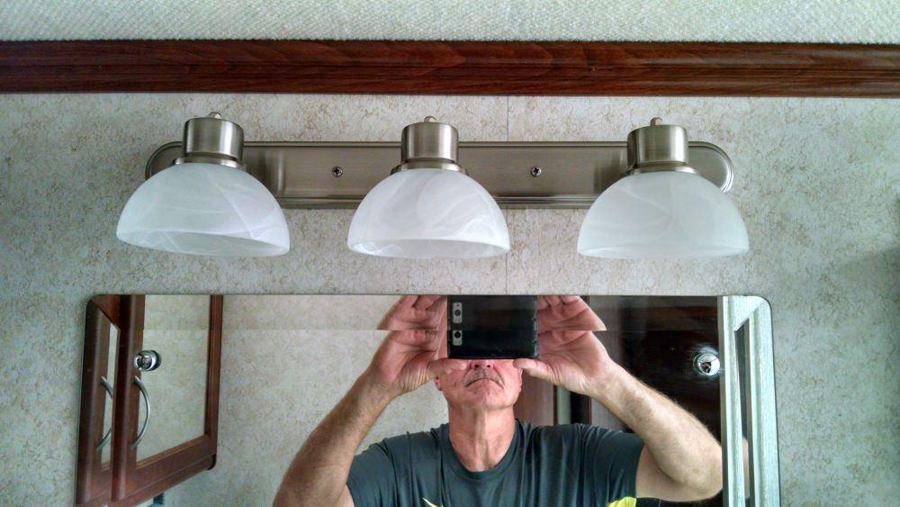 Gustafson RV Vanity Light - Satin Nickel - 3 Arm - Frosted White Glass Gustafson Lighting RV ...