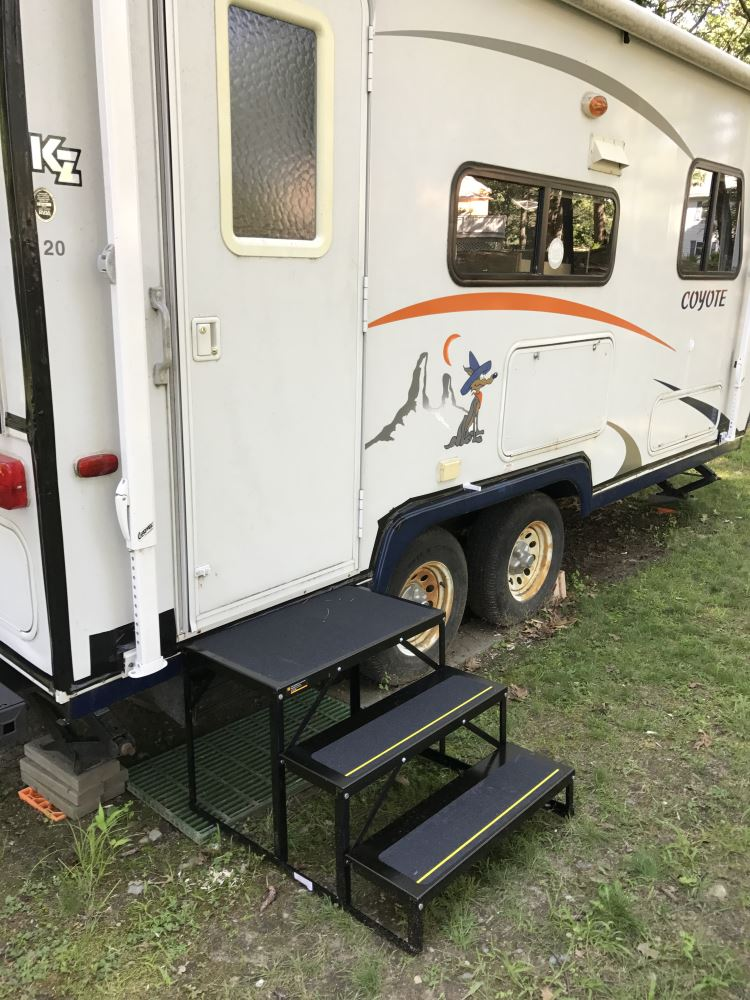 Econo Porch Trailer Step with Handrail and Landing - Double
