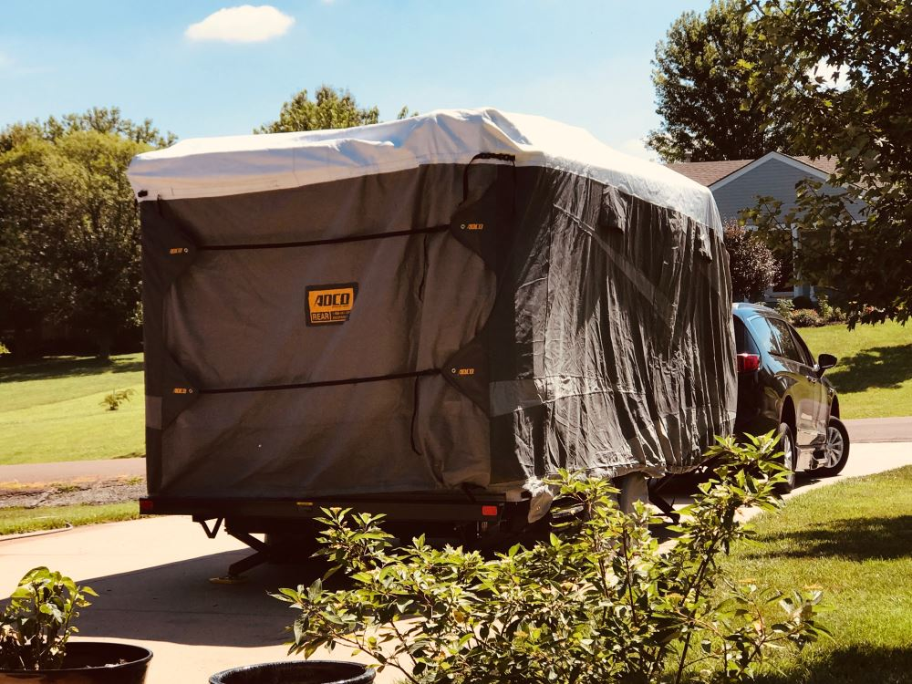 adco tyvek all-climate + wind rv cover for travel trailer - up to 20' long  - gray adco rv covers 290-34840