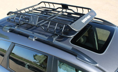 "Rhino-Rack Roof Mounted Steel Cargo Basket - 47"" Long x 35"" Wide - 165 lbs Round Bars,Square Bars,Aero Bars,Elliptical Bars,Factory Bars RMC"