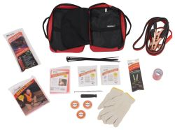 Winter Road Safety Kit with Emergency Flares, Jumper Cables, and First Aid Supplies