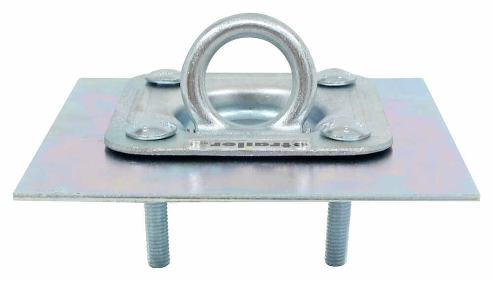 Recessed trailer d ring tie down with backing plate and