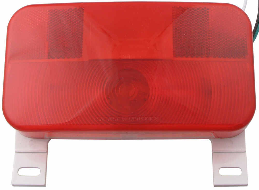 White Base Camping Travel Trailer Stop Turn and Tail Light with License Plate Light and Bracket