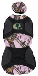Mossy Oak Universal Fit Low Back Bucket Seat Cover - Polyester - New Break-Up Camo - Pink - Qty 1