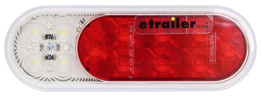Fusion LED Trailer Tail Light - Stop, Tail, Turn, Backup - Submersible - Oval - Red/Clear Lens Oval STL211RB