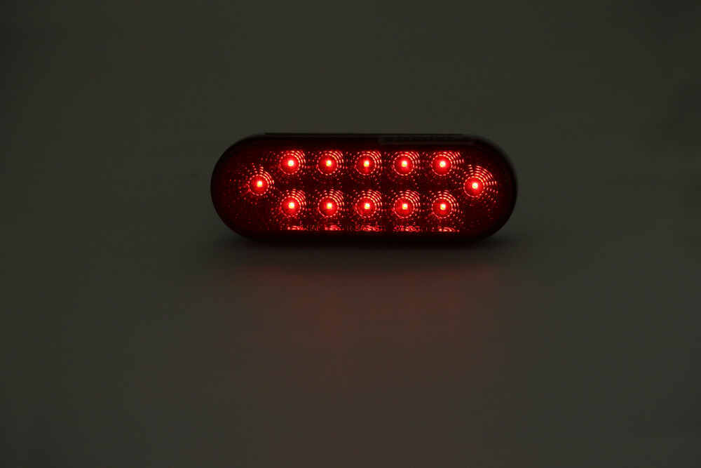 Miro Flex Led Trailer Tail Light Stop Turn Submersible 12 Diodes Oval Red Lens Optronics Lights Stl22rb