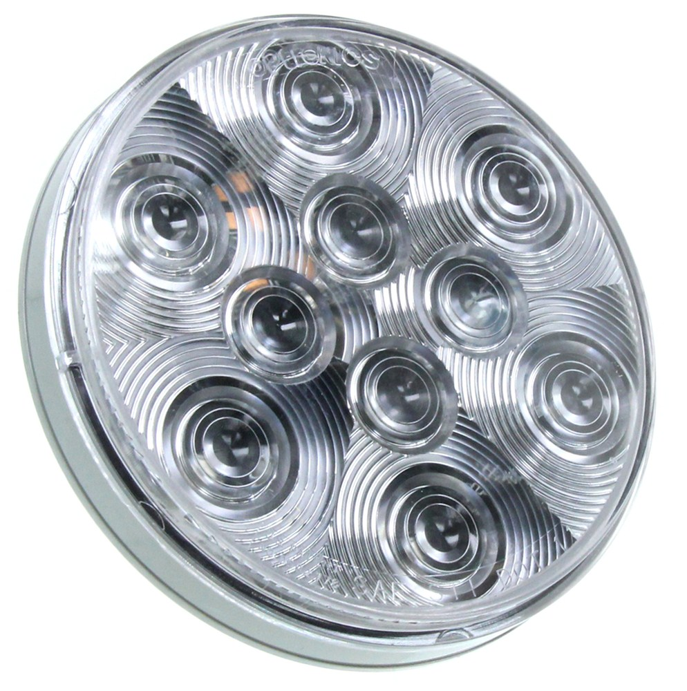 Sealed  4 U0026quot  Round  Led Trailer Stop  Turn  Tail Light  3-function  10 Diode   Clear Lens