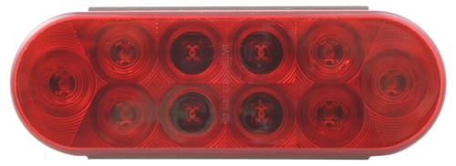 optronics trailer lights submersible 6-1/2l x 2w inch tail light - stop turn led waterproof 10 diodes red lens