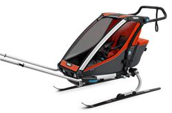 Thule Chariot Cross Bike Trailer, Hike/Ski Trailer, and Stroller - 1 Child - Orange