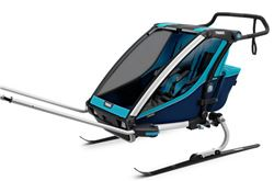 Thule Chariot Cross Bike Trailer, Hike/Ski Trailer, and Stroller - 2 Child - Blue