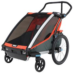 Thule Chariot Cross Bike Trailer and Stroller - 2 Child - Orange