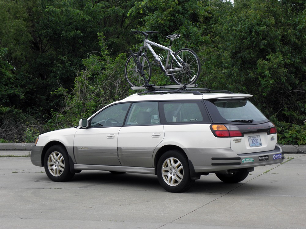 subaru bike rack outback review of the thule trunk bike. Black Bedroom Furniture Sets. Home Design Ideas