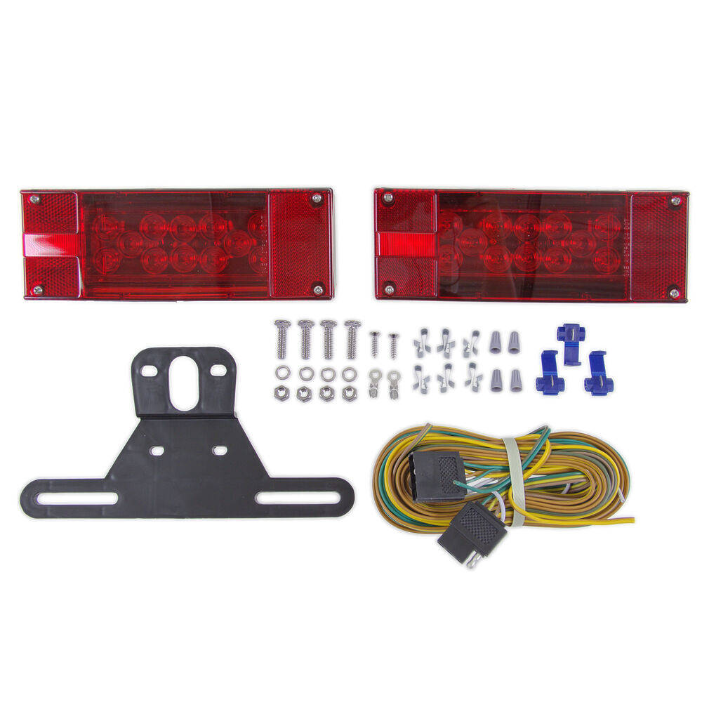 LED Combination Trailer Tail Lights - Submersible - Driver and Passenger  Side - 25' Wire Harness Optronics Trailer Lights TLL16RK
