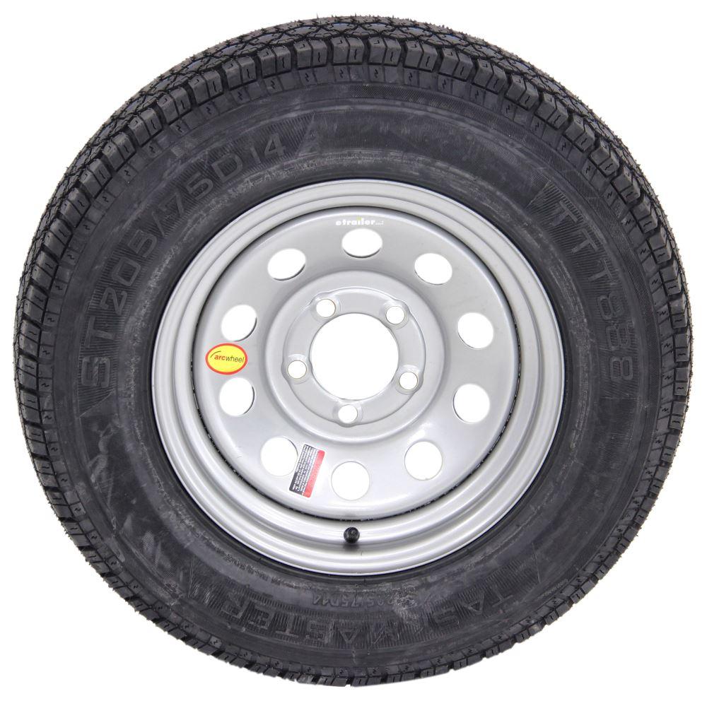 taskmaster st205 75d14 bias trailer tire with 14 silver mod wheel 5 on 4 1 2 load range c. Black Bedroom Furniture Sets. Home Design Ideas