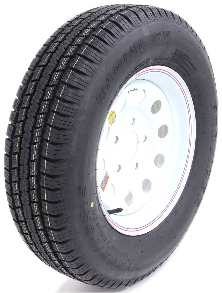 provider st205 75r15 radial trailer tire w 15 white mod wheel 5 on 5 lr c taskmaster tires. Black Bedroom Furniture Sets. Home Design Ideas
