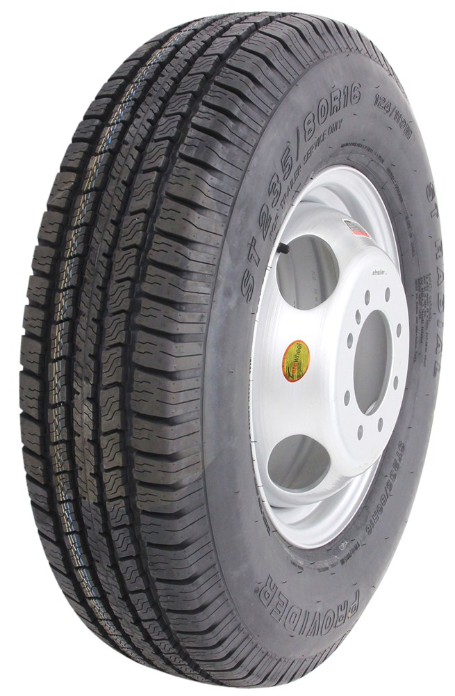 """Tires Best Price >> Provider ST235/80R16 Trailer Tire w/ 16"""" Silver Dual Wheel - Offset - 8 on 6-1/2 - LR E ..."""