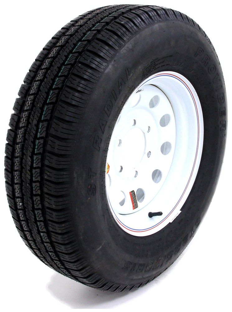 provider st225 75r15 radial trailer tire w 15 white mod wheel 6 on 5 1 2 lr d taskmaster. Black Bedroom Furniture Sets. Home Design Ideas