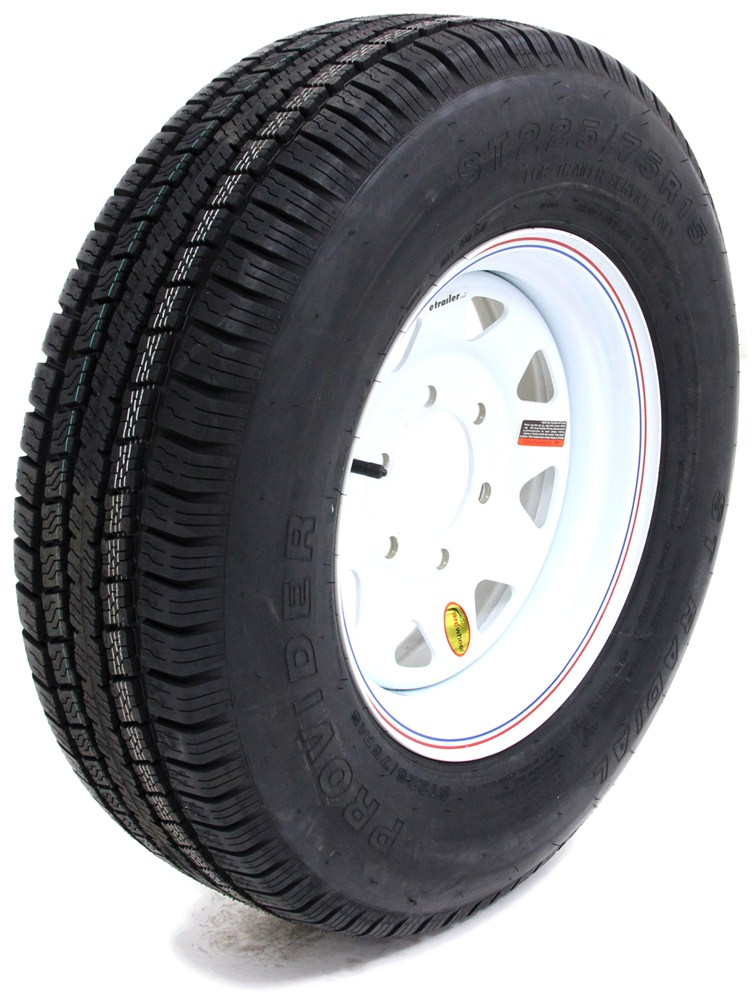 provider st225 75r15 radial trailer tire w 15 white spoke wheel 6 on 5 1 2 lr d taskmaster. Black Bedroom Furniture Sets. Home Design Ideas