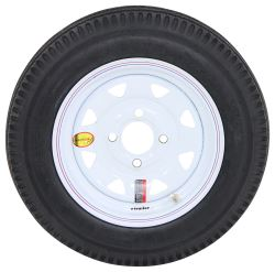 "Taskmaster 4.80-12 Bias Trailer Tire with 12"" White Spoke Wheel - 4 on 4 - Load Range C"