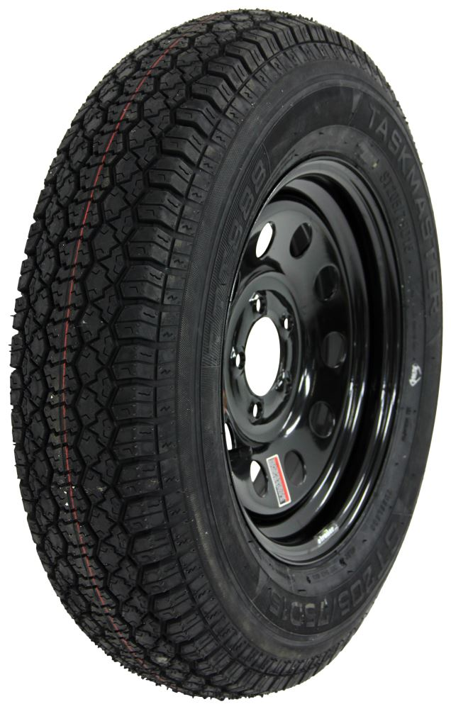 taskmaster st205 75d15 bias trailer tire with 15 black mod wheel 5 on 4 1 2 load range c. Black Bedroom Furniture Sets. Home Design Ideas