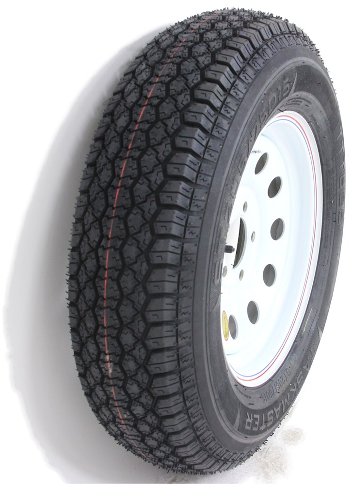 taskmaster st205 75d15 bias trailer tire with 15 white mod wheel 5 on 4 1 2 load range c. Black Bedroom Furniture Sets. Home Design Ideas