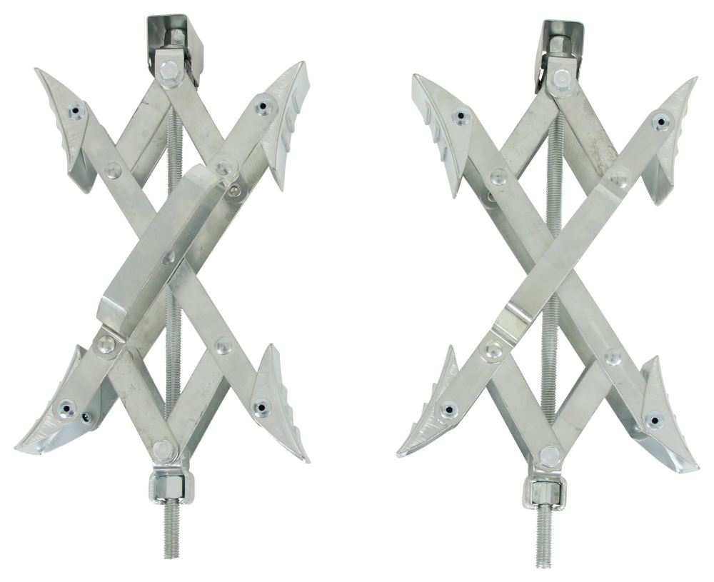 Super Grip Chock Wheel Stabilizers for Tandem-Axle Trailers and RVs - Qty 2 Silver UF21-001091