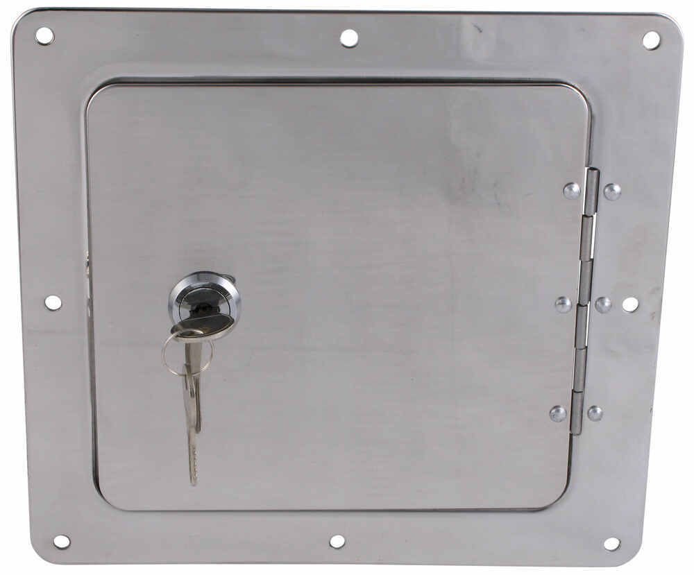 "Ultra-Fab Universal Access Door for Trailers and RVs - 5"" x 5"" Opening - Chrome 5L x 5T Inch UF48-979010"