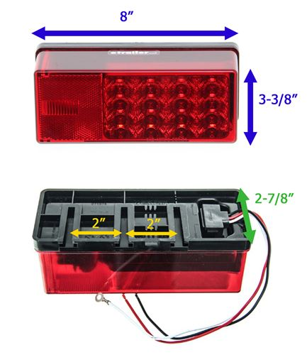 Led Tail Light For Trailers Over 80 Wide 8 Function Submersible 22 Diodes Driver Side Wesbar Trailer Lights 271575