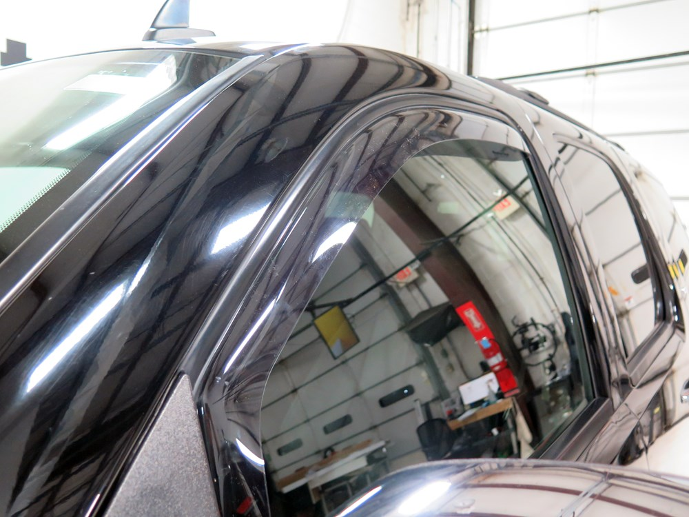 2011 chevrolet silverado weathertech side window air deflectors with light tinting - front