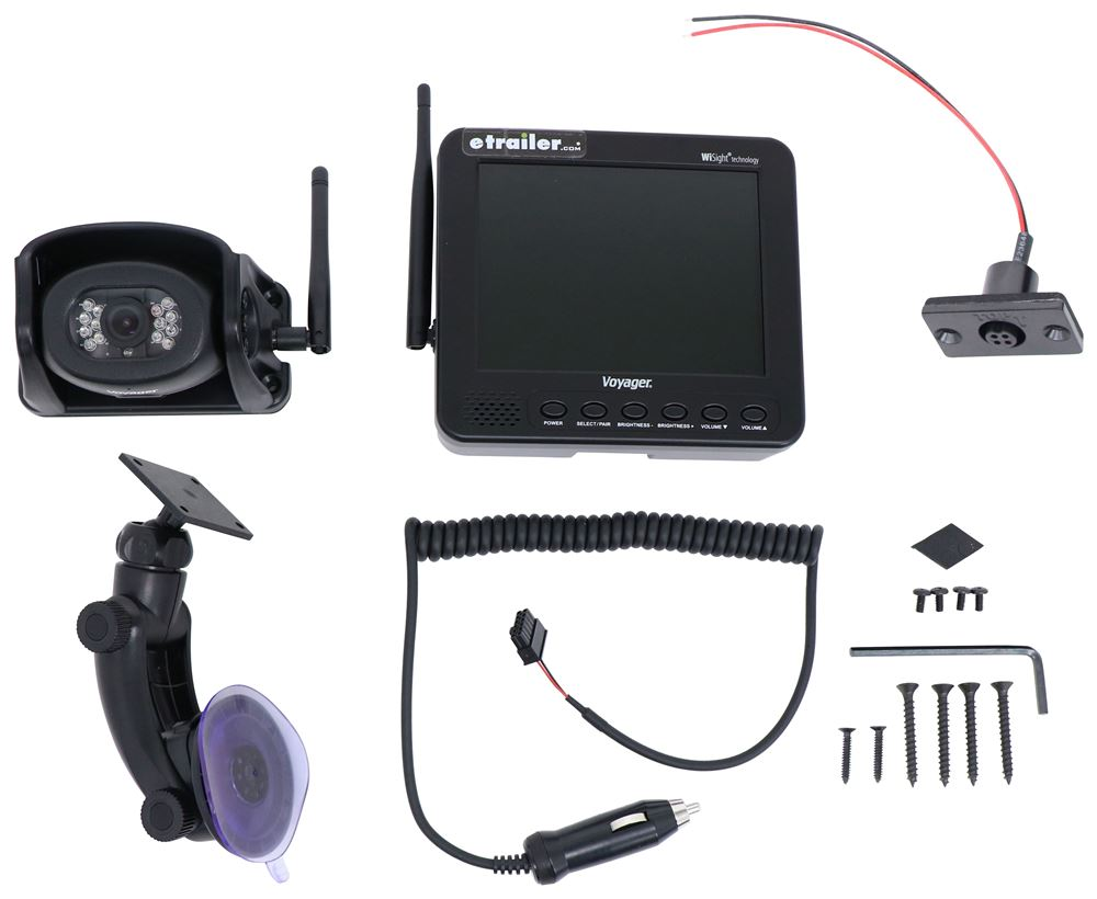 """Voyager WiSight Wireless RV Backup Camera System w/ Night Vision - Rear Mount - 5.6"""" Screen Suction Cup Mount WVHS541"""